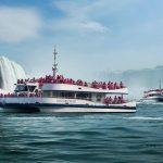 Niagara catamaran tour boats in operation at Niagara Falls, Ontario