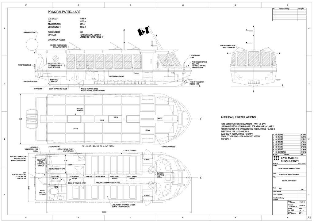 Solar boat General Arrangement